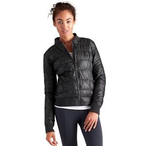 Athleta Goose Down Black Bomber Jacket
